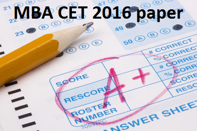 MBA CET 2016 question paper with solution pdf - CetKing